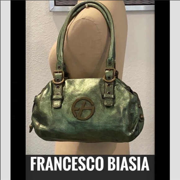 Francesco Biasia distressed metallic leather purse